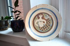 Saucy Mermaid by Loraine and Jack Herman 60s collectible Modernist Decorative Canadian Ontario Ceramic Plate Signed. $95.00, via Etsy.