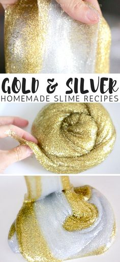 Absolutely gorgeous and glistening gold and silver slime recipes for kids to make! Learn how to easily make these two beautiful metallic slimes with our super simple and super stretchy slime recipe! There's a special ingredient we add in addition to using one of our favorite basic slime recipes. Homemade slime is awesome! #slime #slimerecipe #goldslime #metallicslime #DIYslime #homemadeslime #silverslime
