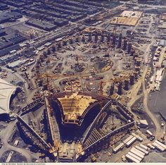 Early construction of the Olympic Stadium and Velodrome for the 1976 Summer Olympics. Not sure how many years before this was in Old Montreal, Quebec Montreal, Montreal Ville, Montreal Canada, Olympic Stadium Montreal, Canadian History, Road Trip, Famous Places, Old Pictures