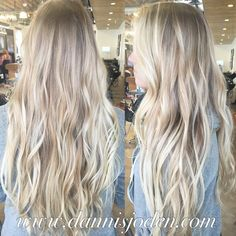 Platinum beachy blonde balayage! Styled with messy beach waves. I love long healthy hair!! Hair by Danni in Denver, Colorado