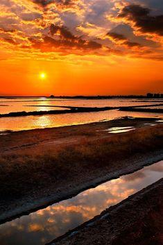 """Angelochori lagoon sunset"" by Hercules Milas | Redbubble Thessaloniki, Sunset Photos, Sunrises, Hercules, Beautiful Sunset, Travel Mug, Beaches, Greece, Nature"