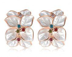18 K Rose Gold White Enamel Flower Petal Earrings with Australian Crystals