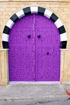 purple arch door
