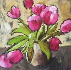 pink tulips in pottery vase open edition print by por prattcreekart