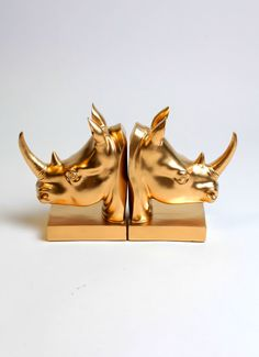 White Faux Taxidermy - Gold Rhino Head Bookends - Gold Home Decor - Office Library Decor - Book Storage