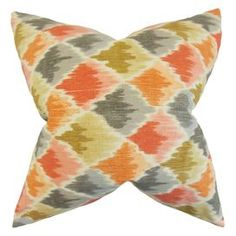Add an exotic touch to your sofa or bedspread with this striking cotton cushion. Arrange with dark wood furniture, mixed motifs and coloured glass accents to complete the look.  Product: CushionConstruction Material: CottonColour: Orange, grey and yellowFeatures:  Reversible pillow with same fabric on both sidesIncludes a hidden zipper for easy cover removal and cleaningComes standard with a high-fiber polyester pillow insert All four sides have a clean knife-edge finishDimensions: 46 cm x…
