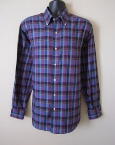 AUSTIN REED Mens Large Purple Blue Black Plaid Button Front Long Sleeve Shirt #AustinReed #ButtonFront Please visit J and S Menswear for more exciting deals on men's fashions!