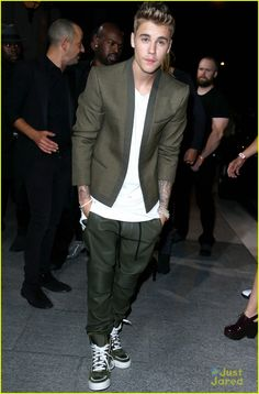 Justin Bieber Looks Green & Suave at CR Fashion Book Release Party