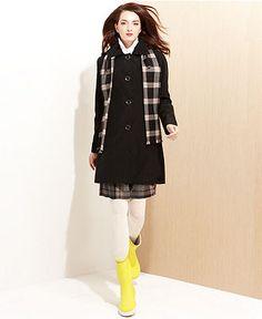 London Fog Petite Coat, Hooded Raincoat & Plaid Scarf - Womens Petite Coats - Macy's