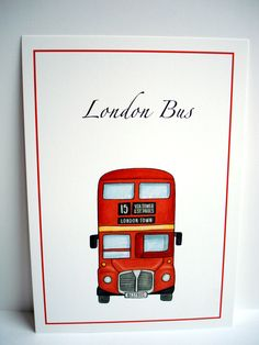 London Theme Wedding Table Name - London Bus  www.beadazzledesigns.co.uk