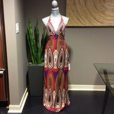 HAVEN Dress Sz S Multicolored maxi halter dress by Haven. Tie neck, zip back. Size small. New without tags. Never worn. Haven Dresses Maxi
