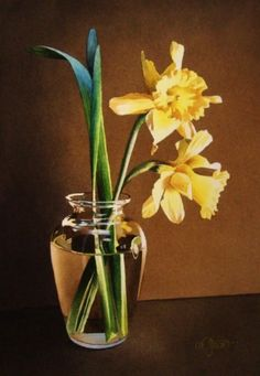 Still Life with Daffodils, original painting by artist Jacqueline Gnott | DailyPainters.com