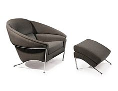 boldido lounge chair by Thayer Coggin... these slender polished stainless legs are so delicate looking!
