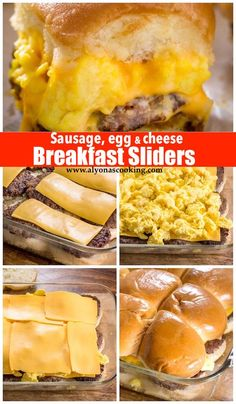 these Sausage Egg and Cheese Breakfast sliders the night before and just pop them into the oven when breakfast comes! EASY and super DELICIOUS breakfast sliders that may have left you wondering why you haven't discovered these earlier! Breakfast Slider, What's For Breakfast, Breakfast Dishes, Good Breakfast Ideas, Breakfast Sandwich Recipes, Easy Breakfast Food, Breakfast Tailgate Food, Breakfast Sausage Recipes, Camping Breakfast