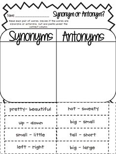 Worksheets Antonyms And Synonyms 1000 images about synonyms and antonyms on pinterest synonym or antonym pdf google drive