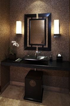 Asian Inspired Bathroom - I like the simplicity of this, and I love the mirror