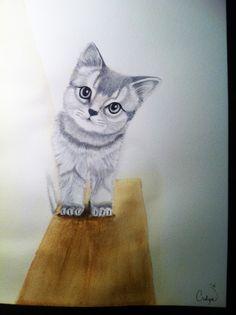 Kitten peeking around a corner - watercolor - pencil http://culpasart.wordpress.com/