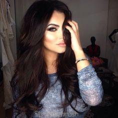 Dark brown hair with lowlights