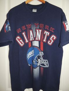 Vintage 90s New York Giants T-Shirt NFL Navy Pro Player Size L. Team Wear 4a9fdf45a
