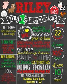 Farm Theme Birthday Chalkboard Poster // Customized Printable Birthday Board // Personalized Boy Chalk Board // Barnyard // Farm Animals