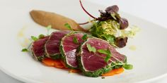 This escabeche of yellowfin tuna, served with aubergine purée, is a glorious, fresh tasting seafood starter recipe from the Galvin brothers.
