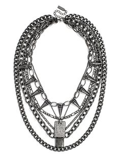Locks, pave dog tags and spikes round out this mixed-media chain bib with plenty of edge to shake up a simple jeans-and-tee look. Diy Jewelry, Jewelry Accessories, Fashion Jewelry, Statement Jewelry, Fashion Watches, Jewels, Chain, Diamond, My Style