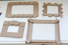 cardboard picture frames for their artwork.  fun idea!