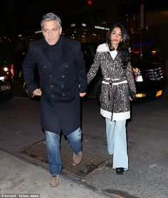Hand-in hand:George and Amal Clooney were pictured enjoying another evening of fine dining as they were joined by George's mother, Nina Bruce Warren, at Patsy's on Monday