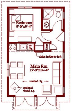 """After a good deal of research, I settled on a set of plans called the """"Weekend Warrior"""" by Robinson Residential. Using those plans as a guide, I expanded the footprint of the cottage by three feet and added a full second floor sleeping loft. We poured a 16ft x 28ft concrete slab as the foundation for our little building. That was a 448 sq. ft. footprint Floors Plans, Tiny House, Little House Floor Plan, Small Garage Conversion, Guest House, Concrete House Plans, Small House Plans, Small Spaces, Ideas On Small House"""