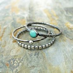 Stacking Rings Set in Antiqued Sterling Silver Featuring Natural Kingman Turquoise – 3 Rustic Stacking Bands with Natural Stone
