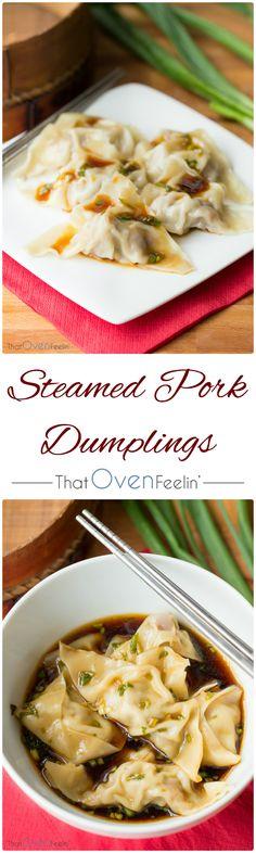 Steamed Pork Dumplings with a Scallion Dipping Sauce