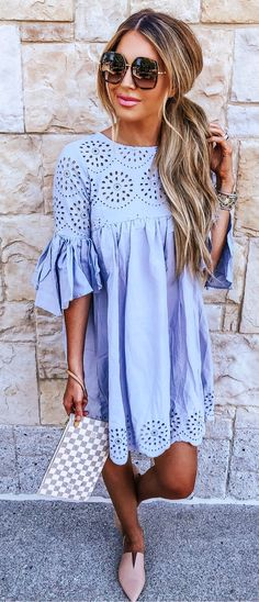 Brilliant Summer Outfits To Copy Right Now l Blue Dresses l Street Style Chic Fashion Outfits Summer Women's Summer Fashion Outfits, Casual Summer Outfits, Spring Summer Fashion, Spring Outfits, Love Fashion, Womens Fashion, Outfit Summer, Fashion 2018, Pretty Outfits