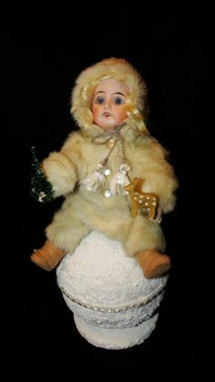 Antique German Doll Head Made Into Christmas Candy Container Snow Baby Mink | eBay