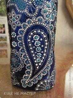 Декор предметов Роспись Бутылка Белое на синем Бутылки стеклянные Краска фото 6