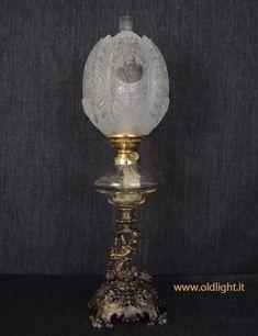 Complementi D'arredo Antica Lampada Per Olio Spagnola In Vetro E Pelle Elegant And Sturdy Package