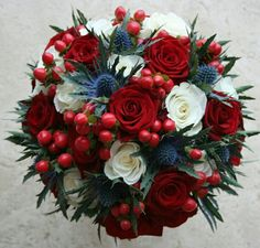 Red Rose , hypericum and I thistle bouquet