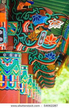 It's a Buddhist Temple! Honestly, I find Buddhist temples so beautiful There's something so spiritual about they decorate simplicity in vivid colors – so happy, so perfect. Tibetan Art, Tibetan Buddhism, Buddhist Temple, Buddhist Art, Stone Statues, Korean Art, Korean Traditional, World Of Color, Pattern Design