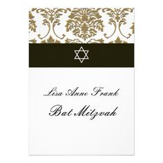 $$$ This is great for          Bat  Mitzvah+Faux Gold Damask/black+white…