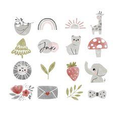 Cupcake Logo, Watercolor Circles, Watercolor Logo, Rainbow Clipart, Sloth Bear, Custom Icons, Bakery Logo, Photography Marketing, Branding Kit