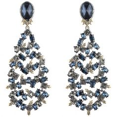 Blue Confetti Chandelier Clip Earring  PLUKKA