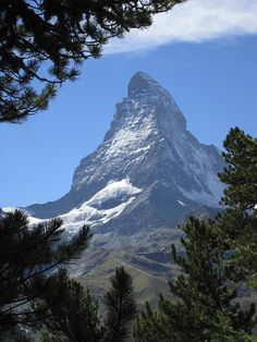 Matterhorn  a mountain in the Pennine Alps on the border between Switzerland and Italy. Its summit is 4,478 meters (14,690 ft) high, making it one of the highest peaks in the Alps. (Wiki)