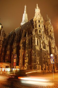 This is St. Stephen's Cathedral (Stephansdom) in Vienna / Austria.  (Source: elegantie)  Seems odd to see modern street signs there.