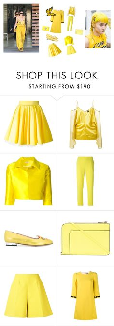 """""""Beauty In Yellow..**"""" by yagna ❤ liked on Polyvore featuring Philipp Plein, Jean-Paul Gaultier, P.A.R.O.S.H., Charlotte Olympia, Valextra, Delpozo, Dolce&Gabbana, Versus and vintage"""
