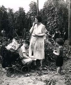 Mother and children on a hop-picking holiday. For working class Londoners this annual 'holiday' picking hops to make beer usually in Kent was the only holiday they would have but at least they got paid. Whole families would decamp to the countryside, the living conditions would be rough and ready and food cooked over an open fire.I remember my late Dad telling me of his first visit ever to the countryside, it was heaven for children to be able to explore and run around free,