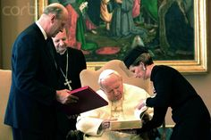 King Harald and Queen Sonja of Norway meet with Pope John Paul II at the Vatican, October 25, 2001