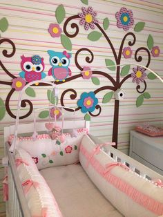 ÀRVORE MDF COM TECIDOS FORRADOS COM 2,30 DE ALTURA X 2,80 DE LARGURA Baby Bedroom, Girls Bedroom, Creative Kids Rooms, Owl Nursery, School Decorations, Baby Owls, Little Girl Rooms, Bedroom Themes, Baby Design