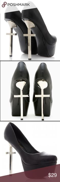 GOTH CROSS PLATFORM HEELS PUMPS ⚡️☠️⚡️ size 9 Super cool cross heeled platform pumps. ⚡️☠️⚡️ Size 9! Great condition! Tip: metal crosses can be cleaned with Windex to be extra shiny ✨☠️ Sold as is!  privileged Shoes Platforms