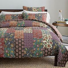 DaDa Bedding Floral Masterpiece Reversible Bohemian Cotton Real Patchwork Quilted Bedspread Coverlet Set - Bright Vibrant from dadabc. Saved to room.
