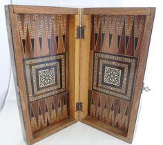 Vintage handmade backgammon case chess checkers game board wood arabesque Marquetry box Ornate mosaic pattern inlaid geometric Moorish by HeyIUsedToHaveThat on Etsy