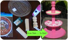 My own attempt at a cupcake stand that I found on Pinterest.... A couple Dollar Store items and a few table legs from Home Depot...... This one is for a flamingo themed baby shower, but I love that I can just spray paint it again and add different scrapbook paper for the next time I need it....click for original tutorial. -Amber D-K